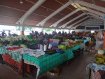 A food market with many different fresh food stalls