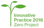 A logo of a green branch with three green leaves with the words Innovative Practice 2016 Zero Project