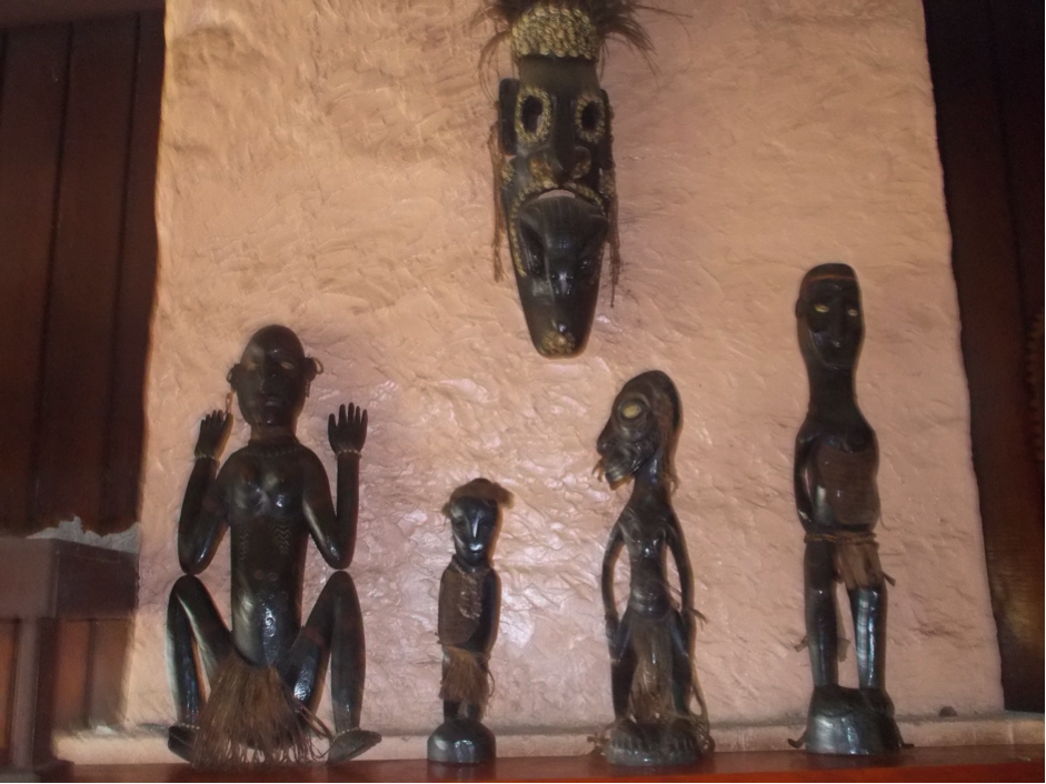 A selection of carved wooden artefacts