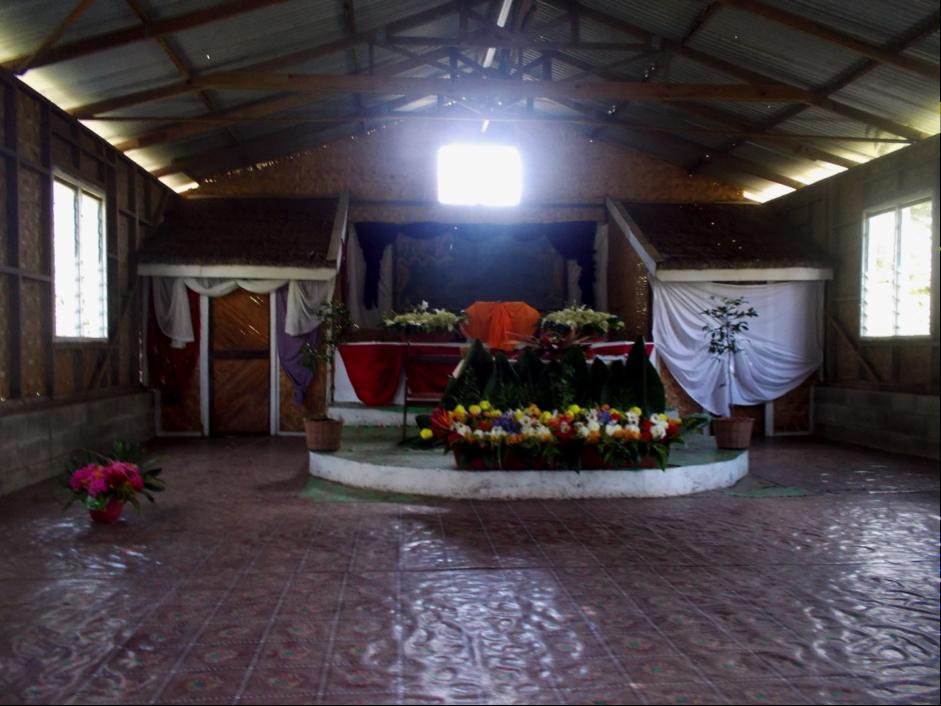 A Church altar with flowers