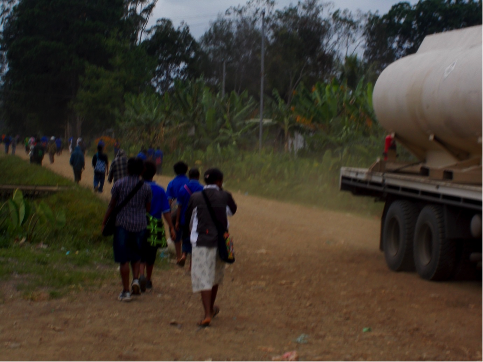 A group of children walking to school