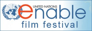 The United Nations Enable Film Festival logo with the UN logo of the world with an olive leaf on each side