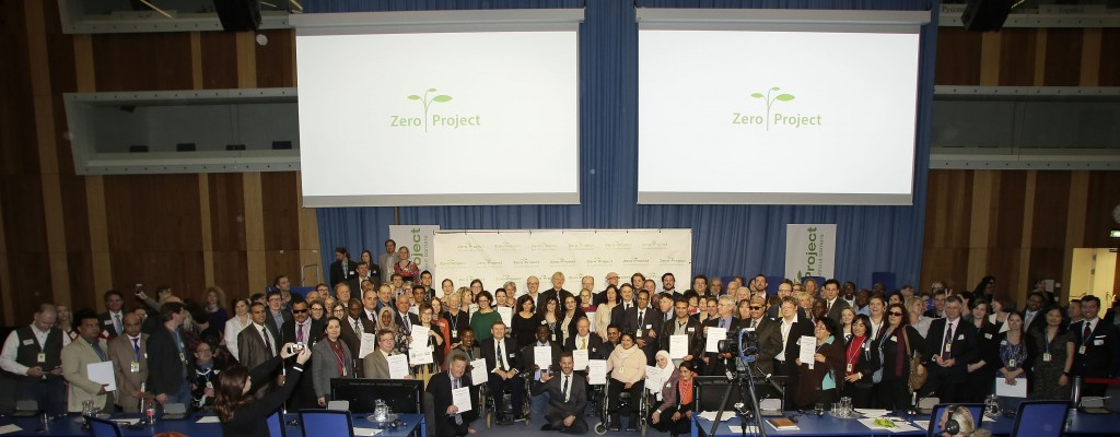 A group photo of the 98 recipients of 2016 Zero Awards for innovative practices and policies in inclusive education and ICT, taken at the UN Office in Vienna, Austria